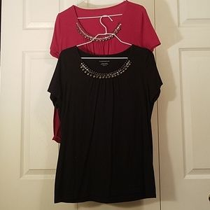 RED OR BLACK, BEADED SHIRT